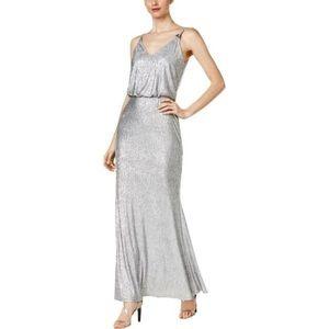 Calvin Klein Womens Metallic Blouson Gown